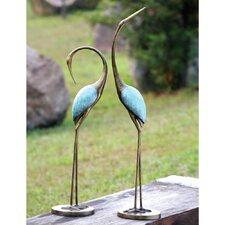 Stylized Garden Crane Pair Statue