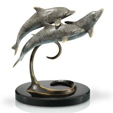 Triple Dolphins on Marble Base Sculpture