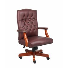Traditional High Back Italian Leather Office Chair