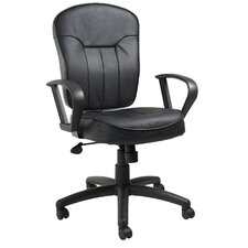Leather Mid-Back Armless Chair