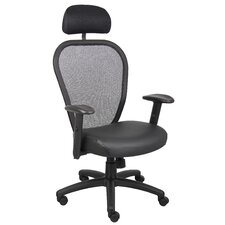 <strong>Boss Office Products</strong> High-Back Professional Managers Mesh Chair with Headrest and Arms