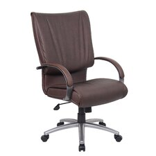 <strong>Boss Office Products</strong> Mid-Back Leatherplus Executive Chair with Arms