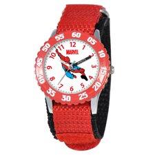 Kid's Spider-Man Time Teacher Watch in Red