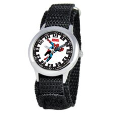 <strong>Marvel</strong> Kid's Spider-Man Time Teacher Velcro Watch in Black
