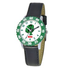 Kid's Hulk Time Teacher Watch in Black with Green Bezel