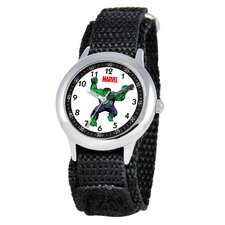 Kid's Hulk Time Teacher Velcro Watch in Black