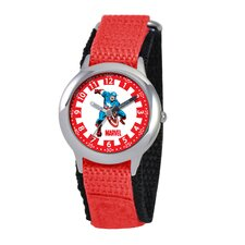 Kid's Captain America Time Teacher Velcro Watch in Red