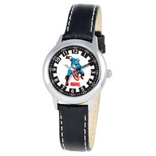 Kid's Captain America Time Teacher Watch in Black Leather
