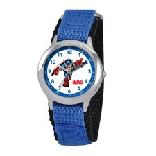 Kid's Captain America Time Teacher Velcro Watch in Blue