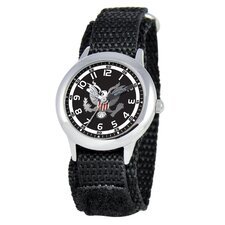 Kid's Military Army Time Teacher Velcro Watch in Black