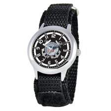 Kid's Military Coast Guard Time Teacher Velcro Watch in Black