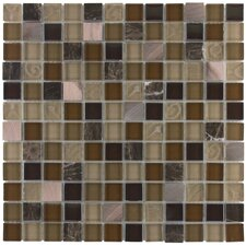 "Elida Glass 12"" x 12"" Mosaic in Coral Light Metal Glass"