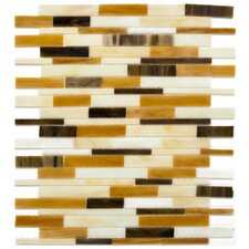 "<strong>Surfaces</strong> Elida Glass 13"" x 11"" Mosaic in Mocha Seashell Brick"