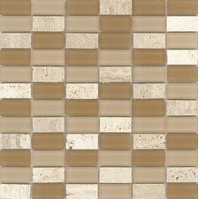 "Elida Glass 12"" x 12"" Mosaic in Natural Brick"