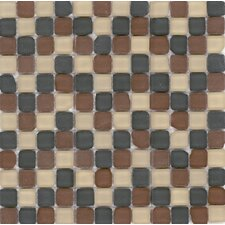"<strong>Surfaces</strong> Elida Glass 12"" x 12"" Mosaic in Tumbled Kaki"