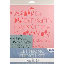 Tea Party Letters Stencil Set