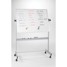 "Deluxe Reversible Porcelain/Cork 2'6"" H x 3'4"" L Whiteboard with Aluminum Frame"