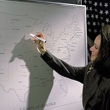 Porcelain Lifetime United States Map 4' H x 4' L Whiteboard