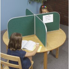 Tackable Fabric and Aluminum Round Study Carrel