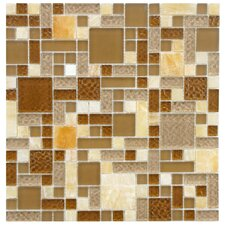 Sierra Random Sized Polished Glass and Stone Mosaic in Versailles Amber