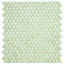 "<strong>EliteTile</strong> Posh 11-3/4"" x 12"" Penny Round Porcelain Mosaic Wall Tile in Mint"