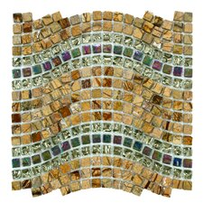 "Sierra 11-3/4"" x 12-1/4"" Polished Glass, Stone and Metal Mosaic in Wave Jupiter"