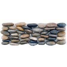 "Brook Stone 12"" x 4"" Stone Mosaic Wall Tile in Multi Horizon"