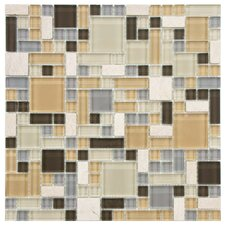 Sierra Random Sized Polished Glass and Stone Mosaic in Versailles River