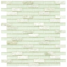 "Sierra 1-7/8"" x 1/2"" Polished Glass and Stone Subway Mosaic in Ming"