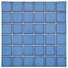 "<strong>EliteTile</strong> Pool 12-1/4"" x 12-1/4"" Porcelain Mosaic in Cerulean"