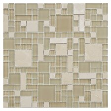 Sierra Random Sized Polished Glass and Stone Mosaic in Versailles Sandstone