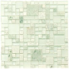 "<strong>EliteTile</strong> Sierra 12"" x 12"" Polished Glass and Stone Versailles Mosaic in Ming"