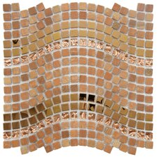 "Sierra 11-3/4"" x 12-1/4"" Polished Glass, Stone and Metal Mosaic in Wave Saturn"