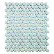 "Retro 3/4"" x 3/4"" Glazed Porcelain Penni Mosaic in Matte Light Blue"