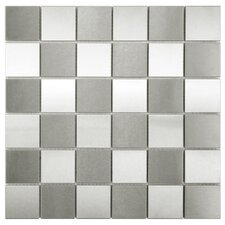 Metallic Stainless Steel Over Porcelain Mosaic Tile in Silver