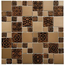 Metallic Random Sized Resin and Stainless Steel Over Porcelain Mosaic Tile in Copper