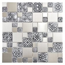 Metallic Random Sized Resin and Stainless Steel Over Porcelain Mosaic Tile in Silver