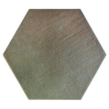 "Hexitile 8"" x 7"" Porcelain Glazed Tile in Matte Musgo"
