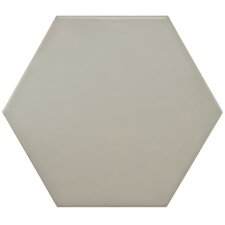 "Hexitile 8"" x 7"" Porcelain Glazed Tile in Matte Gray"