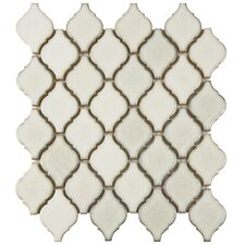"Arabesque 2-3/4"" x 1-7/8"" Porcelain Glazed Mosaic in White (Set of 10)"