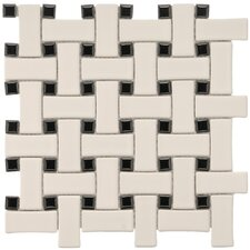 "Basket Weave 9-3/4"" x 9-3/4"" Glazed Porcelain Mosaic in Cream and Black"
