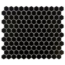"Retro 12"" x 10-7/8""Glazed Porcelain Hexagon Mosaic in Black"