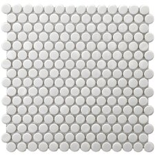"Retro 3/4"" x 3/4"" Glazed Porcelain Penni Mosaic in White"