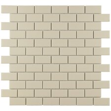 "<strong>EliteTile</strong> Retro 11-3/4"" x 11-3/4"" Glazed Porcelain Subway Mosaic in Matte Biscuit"