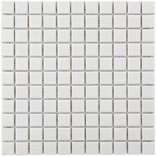 "Retro 11-3/4"" x 11-3/4"" Glazed Porcelain Square Mosaic in White"