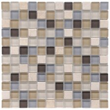 "<strong>EliteTile</strong> Sierra 11-3/4"" x 11-3/4"" Polished Glass and Stone Square Mosaic in River"
