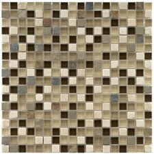 "Sierra 11-3/4"" x 11-3/4"" Polished Glass and Stone Mini Mosaic in Nassau"