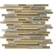 "<strong>EliteTile</strong> Sierra 11-3/4"" x 11-3/4"" Polished Glass and Stone Piano Mosaic in Suffolk"