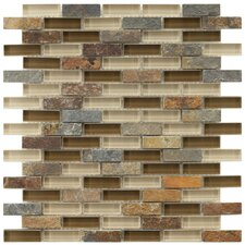 """Sierra 1-7/8"""" x 1/2"""" Polished Glass and Stone Subway Mosaic in Brixton"""