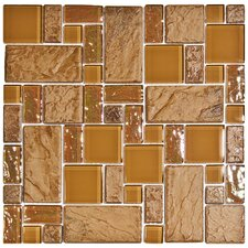 "Eden 11-3/4"" x 11-3/4"" Polished Glass and Stone Versailles Mosaic in Peony"